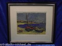 """""""Boote am Strand"""", Tempera, Art von Pechstein, Bremer Privatsammlung"""