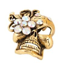 Large Diamond Skull With Flower Brooch Fashion Women Jewelry Alloy  Brooch Pin