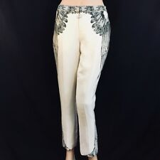 HAUTE HIPPIE Silk Pants, ivory/black, size 2 NWT SRP$795