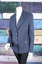 CAbi 10 Blue White Cotton Striped Nautical Blazer Jacket Career Office Work