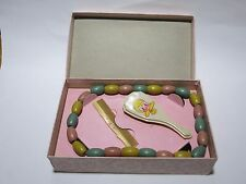 1930s Antique baby comb brush and necklace toy set in original box teething