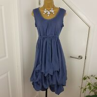 Phase Eight Dress Lagenlook Steampunk Strap Silk Cornflower Blue Size S