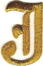 "1 1/8"" Fancy Metallic Gold Old English Alphabet Letter J Embroidered Patch"
