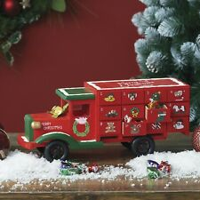 Wooden Red Christmas Advent Calendar Truck Gift decorations