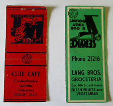 VTG 1950'S LOT ADVERTISING MATCHBOOKS GROCETERIA REDCLIFF EDMONTON ALBERTA