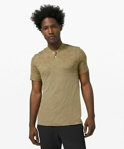 NWT LULULEMON Metal Vent Breathe Polo Henley Mens Short Sleeve Yellow/Red NEW XL