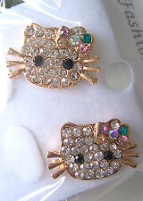 NEW! Hello Kitty Style Rhinestone Stud Gold Tone Earrings for Girls of All Ages