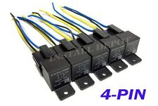 5 Pair - 12V Automotive Relays & Wire Harness 4-PIN Single Pole SPST 40 Amp