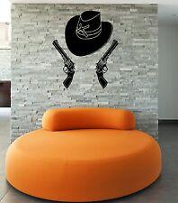 Wall Stickers Vinyl Decal Hat Gun Cowboy Mafia Weapons ig839