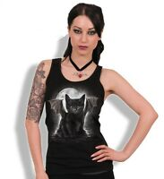 Spiral Direct BAT CAT Women's Razor Back Top Vest, Goth, Vampire, Kitten, Cute
