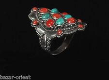 Traditioneller Tibetischer Türkis Ring tibetan turquoise ring neusilber  Nr.23