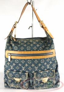 BIDSALEONLY!AUTHENTIC $1690 LOUIS VUITTON Monogram Denim Baggy GM Blue Denim Bag
