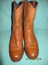 Justin roper medium quill ostrich cowboy boots mens 11 D riding rodeo