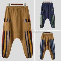 Mens Japanese Harem Floral Pants Casual Baggy Yoga Festival Drop Crotch Trousers