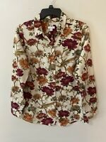 J Jill Women's Size Small Button Front Long Sleeve Floral Blouse