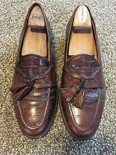 Crocodile Look JOHNSTON & MURPHY BROWN LEATHER LOAFERS MENS 9 M SHOES