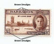 Barbados KGVI ~ ERRORS Brown Smudges See Description ~ Mint hinged