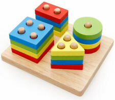 Wooden Rainbow Toys Kids Educational Puzzle Blocks Building Toy Baby Learning