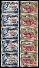 GHANA INDPENDENCE 6th MARCH 1957. OVERPRINTED ON STAMPS of GOLD COAST. MNH (38)