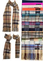 Womens Mens 100% Cashmere Wool Wrap Scarf Scotland Made Plaid All Season Scarves