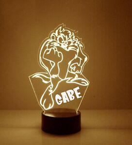 Taz Light Up, Personalized FREE, LED Night Light Lamp + Remote, Tasmanian Devil