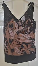 Warehouse Black Strappy Top with Coloured Design Size 10