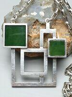Massiv gearbeitetes Collier 925 Silber skandinavisches Design Finnland Jade bes.
