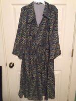 Lined Tie Front Plus Size 2X-3X Floral Print Dress