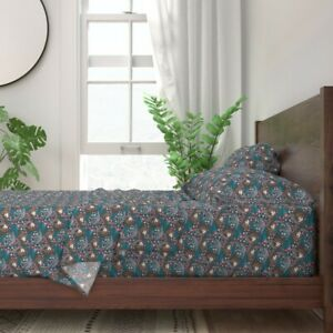 Sloth Wildlife Animal Animals Floral 100% Cotton Sateen Sheet Set by Roostery