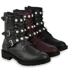 Damen Stiefeletten Schnürstiefeletten Zierperlen Combat Boots 825289 Schuhe