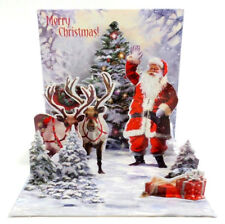 Jolly Santa Christmas Card 3D Pop Up Holiday Greeting Card Up With Paper