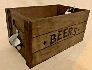 Wooden Rustic Beer Crate with Metal Bottle Opener, Man Cave Essential Equipment