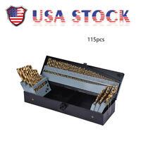 115pc Titanium Drill Bit Set W/ Metal Index Case Fractional Number Letter Steel