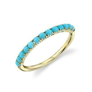 Turquoise Bead Band 14k Yellow Gold Natural Cabochon 0.50ct Dainty Ring Size 7