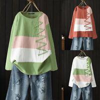 ZANZEA Femme Haut Ample Coton Couture Manche longue Casuel Chemise Tops Plus