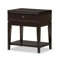 Brown Single Drawer Lower Shelf Modern Accent Side End Table Nightstand Designer