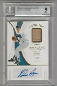 2019 Immaculate Collection Cowhide Memo Auto #20 Nolan Ryan 20/25 BGS 9