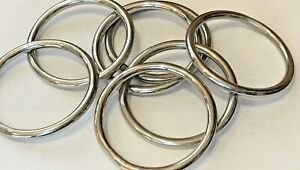 Very Large Polished Chrome Metal Curtain Rings 95mm in Diameter
