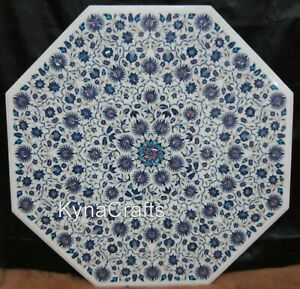 Octagon Marble Dining Table Top Blue Stone Inlaid Work Hallway Table 48 Inches