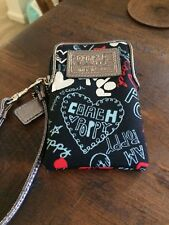 COACH POPPY BLACK GRAFFITI  WALLET WRISTLET POUCH