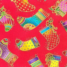 c**orado ~Bountiful Blessings~ REMNANT Laurel Burch Red Fabric Holiday Stockings