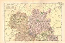 1895 ANTIQUE MAP - SHROPSHIRE NORTH AND SOUTH, 2 SHEETS, LUDLOW, SHREWSBURY