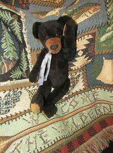 "VINTAGE BLACK TEDDY BEAR ARTIST GWEN HURLBURT 15"" JOINTED PLUSH LONG ARMS OOAK"