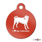 I Love My Labrador Engraved Keychain Round Tag w/tab lab Many Colors