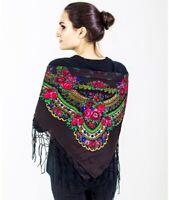 Black scarf with fringe Russian Ukrainian Polish Gypsy Shawl Floral