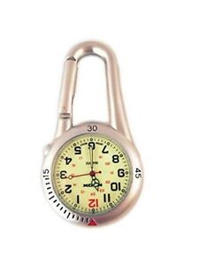 Silver Clip on Carabiner FOB Watch Luminous Face for Doctors Nurses Paramedics
