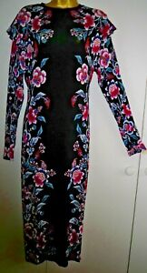 VERY Midi Dress Size UK20 Black w' Pink Blue & White Floral Pattern Viscose