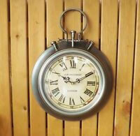 Vintage Stopwatch Style Grey Silver Metal Bond Street London Round Wall Clock