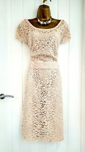 JACQUES VERT size 20 blush pink dusky floral lace beaded occasion wedding dress