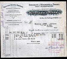 """PARIS (II°) BLOUSES & TABLIERS / VETEMENTS de TRAVAIL """"DUTHILLEUL & MINART"""" 1924"""